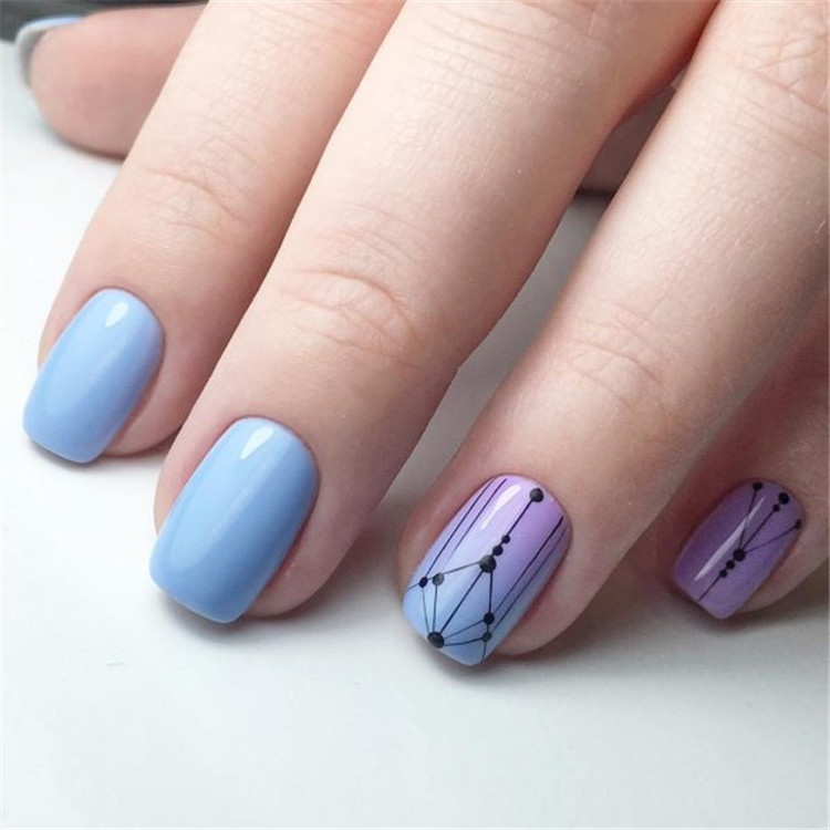 Constrained and concise minimalist manicure design/>–nextpage–></p> <p>The stylish geometric shape on the nails becomes a universal nail design from 2019 to 2020 at any time of the year, perfectly complementing the everyday and evening look.<br /> <img src=