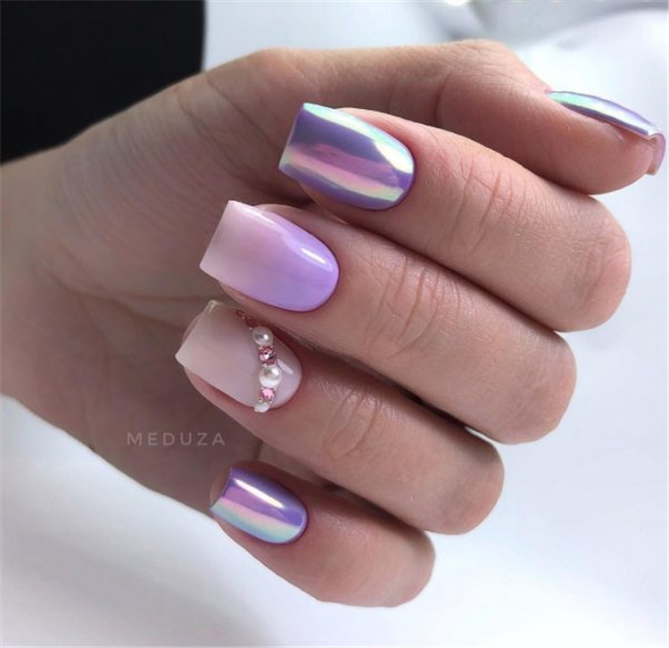 Stunning fashion metallic effect nail design idea